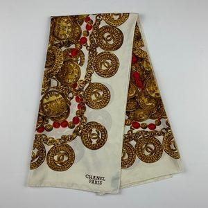 "Vintage Chanel Paris Gold Coin 100% Silk Scarf 34"""